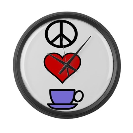 Peace Love Coffee 2 Large Wall Clock