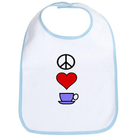 Peace Love Coffee 2 Bib