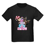 Elf with Reindeer and Gifts Kids Dark T-Shirt