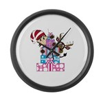 Elf with Reindeer and Gifts Large Wall Clock