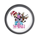 Elf with Reindeer and Christmas Gifts Wall Clock