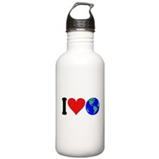 I Love Earth (design) Water Bottle