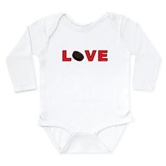 Hockey Love 3 Long Sleeve Infant Bodysuit