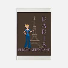 Paris Flight Attendant Rectangle Magnet