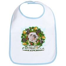 Merry Christmas Bulldog Bib