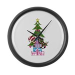 Christmas Elf and Reindeer Large Wall Clock