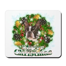 Merry Christmas Boston Terrier Mousepad
