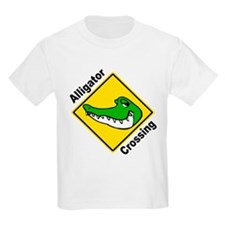 Alligator Crossing Sign Kids T-Shirt