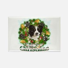Merry Christmas Border Collie Rectangle Magnet