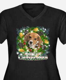 Merry Christmas Beagle Women's Plus Size V-Neck Da