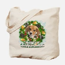 Merry Christmas Beagle Tote Bag