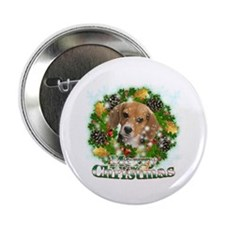 "Merry Christmas Beagle 2.25"" Button"