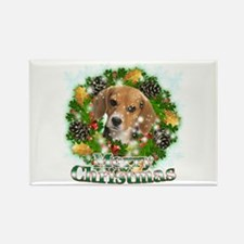 Merry Christmas Beagle Rectangle Magnet (10 pack)