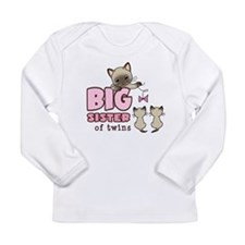 Big Sister of Twins (Kitty) Long Sleeve Infant T-S