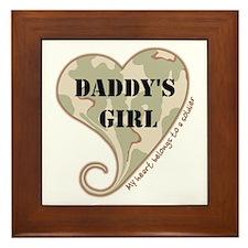 Daddy's girl camo soldier heart Framed Tile