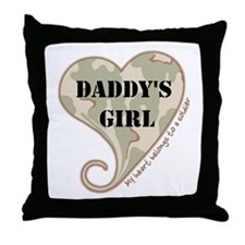 Daddy's girl camo soldier heart Throw Pillow