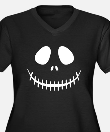 Skeleton Face Women's Plus Size V-Neck Dark T-Shir