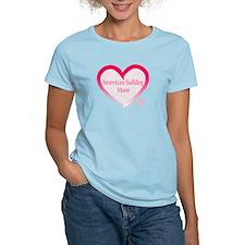 American Bulldog Mom Pink Heart T-Shirt