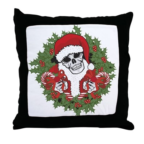Santa Skull with Wreath Throw Pillow