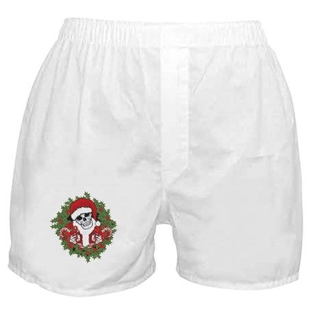 Santa Skull with Wreath Boxer Shorts