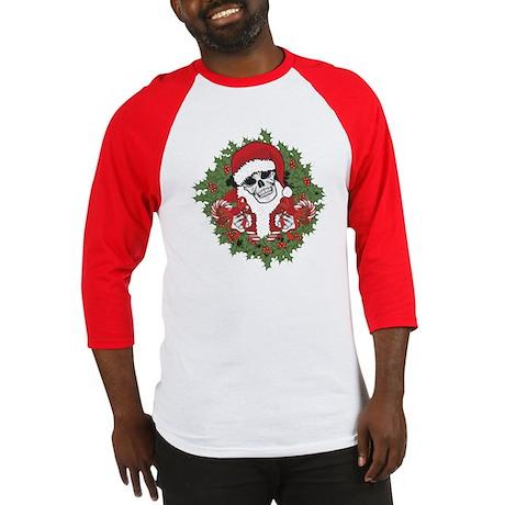 Santa Skull with Wreath Baseball Jersey