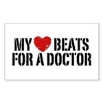 My Heart Beats For A Doctor Sticker (Rectangle)