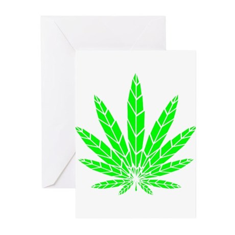 Green Leaf Greeting Cards (Pk of 10)