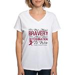 Multiple Myeloma Bravery Women's V-Neck T-Shirt