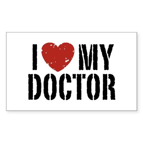 I Love My Doctor Sticker (Rectangle)