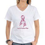 Love Courage Myeloma Women's V-Neck T-Shirt