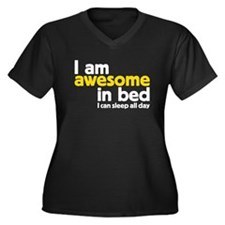 I am awesome in bed Women's Plus Size V-Neck Dark