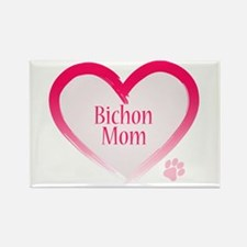 Bichon Pink Heart Rectangle Magnet (100 pack)