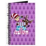 Christmas Elf with Reindeer and Gifts Journal