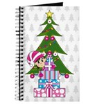 Adorable Christmas Elf by Tree with Gifts Journal