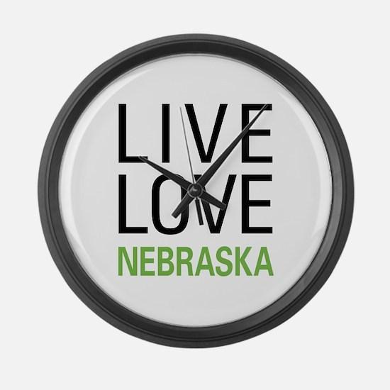 Live Love Nebraska Large Wall Clock