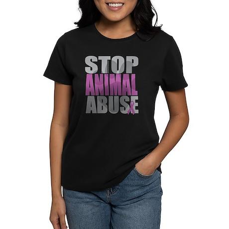 Stop Animal Abuse(Paw) Women's Dark T-Shirt