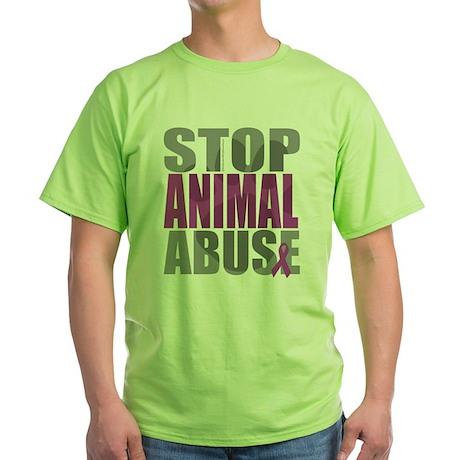 Stop Animal Abuse(Paw) Green T-Shirt