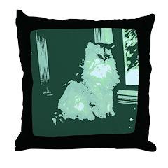 Pop Art Gray Long-haired Cat Throw Pillow