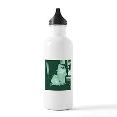 Pop Art Gray Long-haired Cat Water Bottle