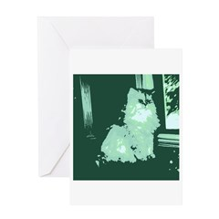 Pop Art Gray Long-haired Cat Greeting Card