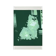 Pop Art Gray Long-haired Cat Rectangle Magnet (100