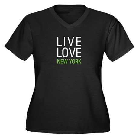 Live Love New York Women's Plus Size V-Neck Dark T