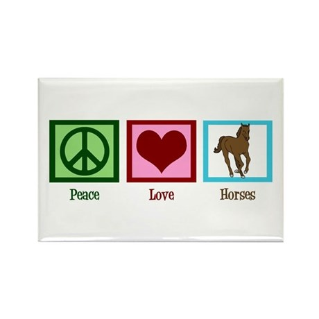 Peace Love Horses Rectangle Magnet