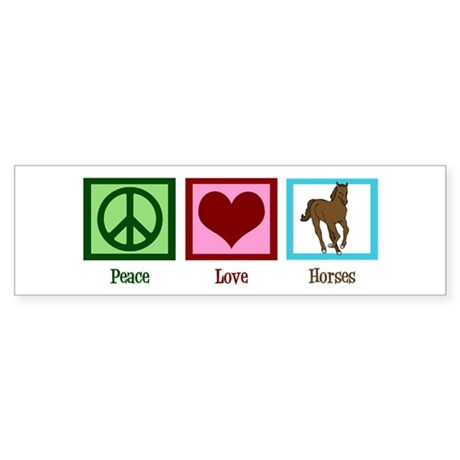 Peace Love Horses Sticker (Bumper)