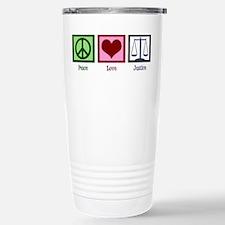 Peace Love Justice Stainless Steel Travel Mug