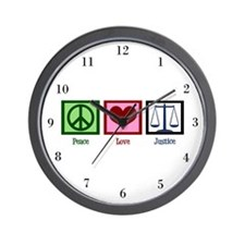 Peace Love Justice Wall Clock