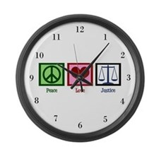 Peace Love Justice Large Wall Clock