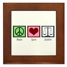 Peace Love Justice Framed Tile