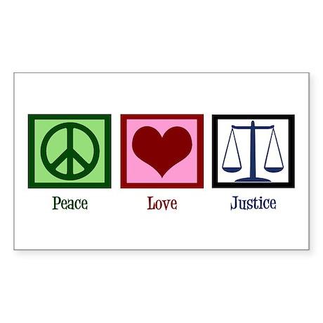 Peace Love Justice Sticker (Rectangle)
