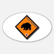 Bear Crossing Oval Decal